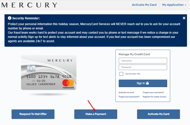 Mercury card payment