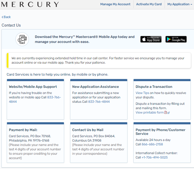Mercury Credit Card payment