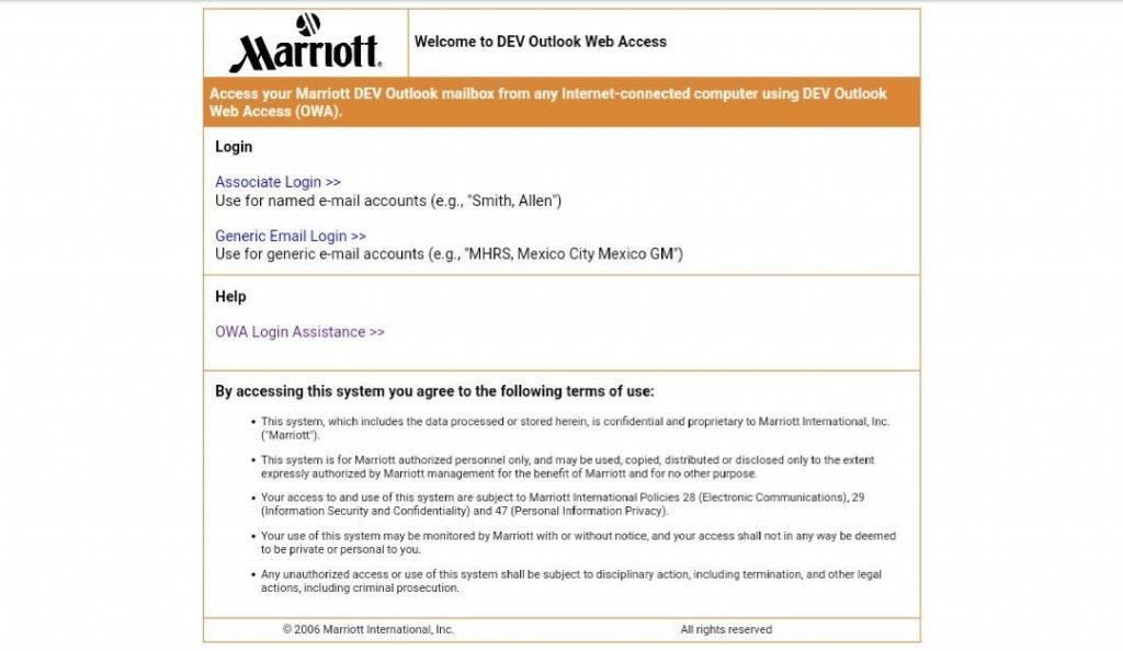 Owa Marriott Email Login