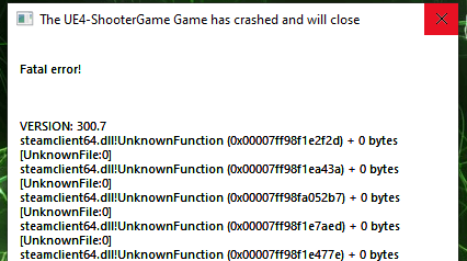 The Ue4-shootergame Game Has Crashed and Will Close